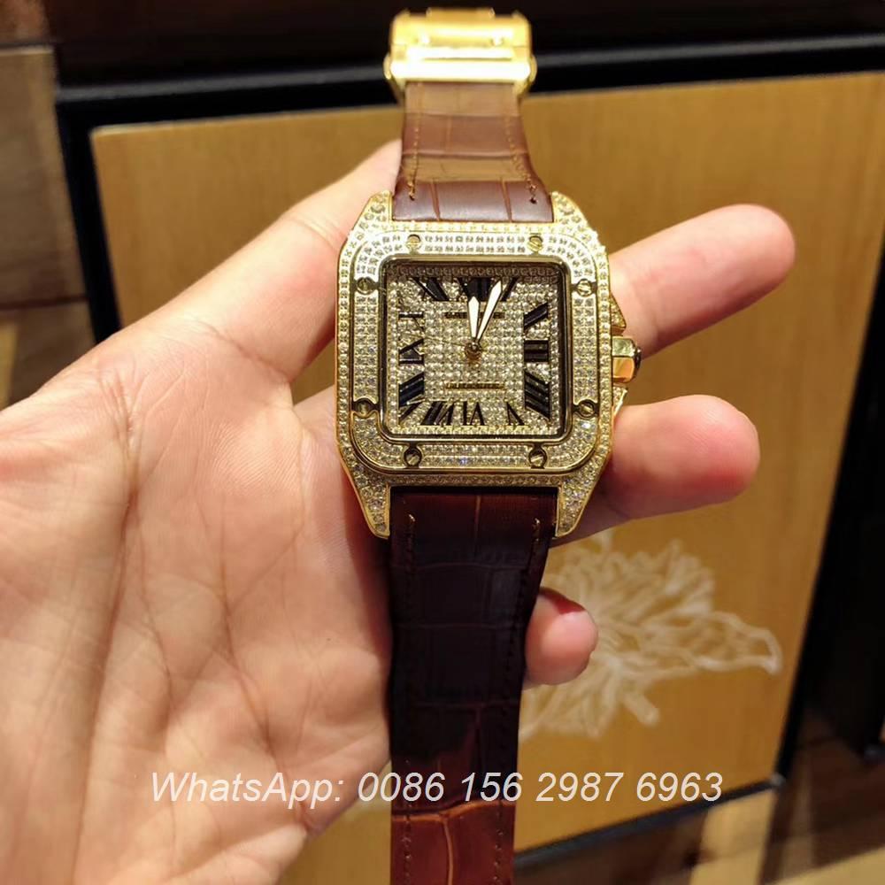 C105XD326, Cartier Santos diamonds face gold case men's watch automatic luxury AAA+