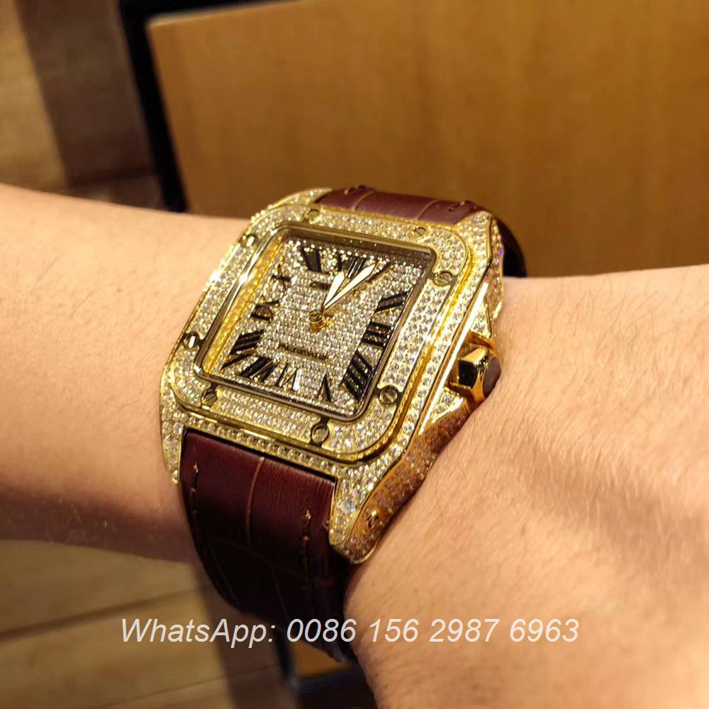 C105XD326, Cartier Santos diamonds face gold case men's watch automatic luxury AAA+