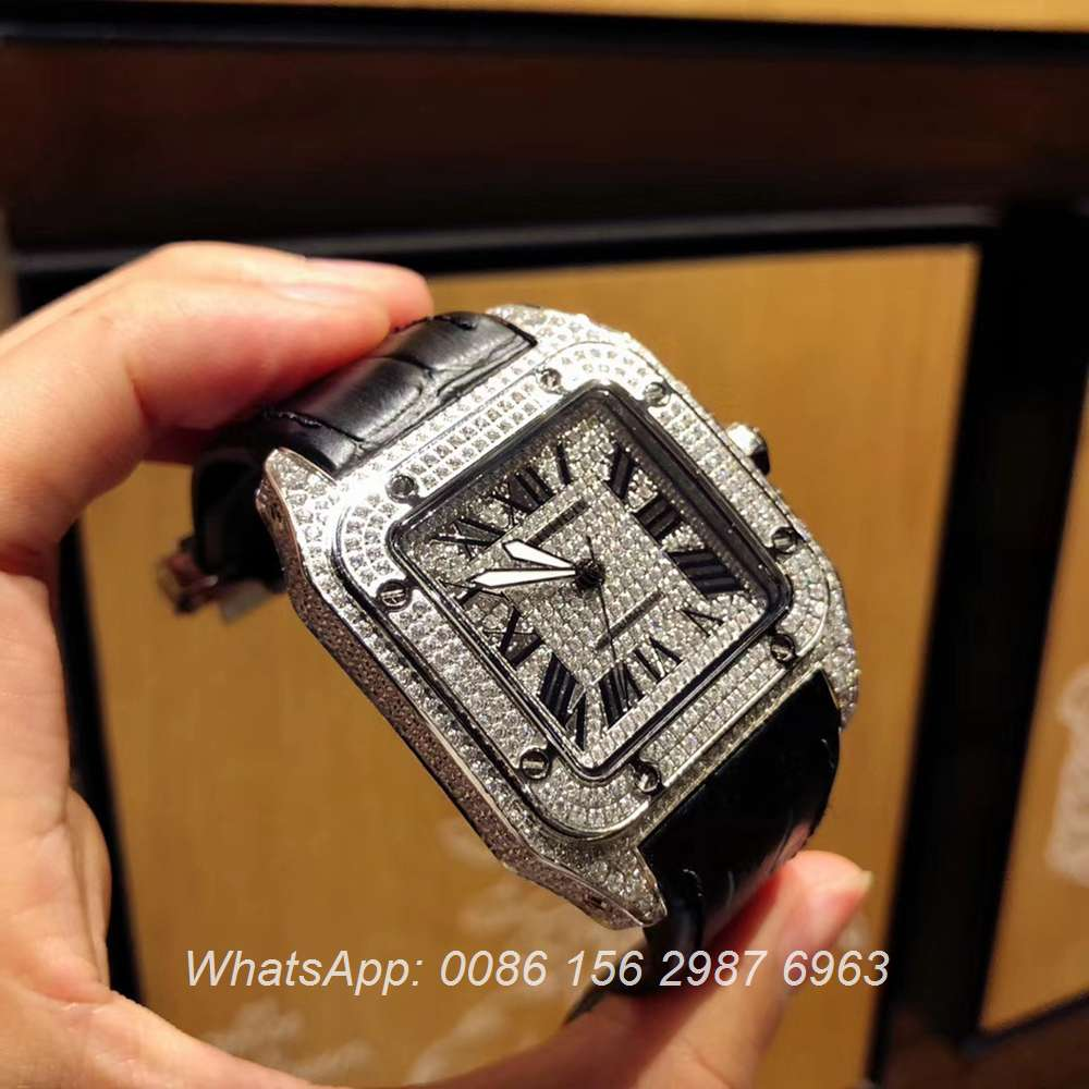 C105XD327, Cartier silver case with diamonds face Santos men's watch AAA+