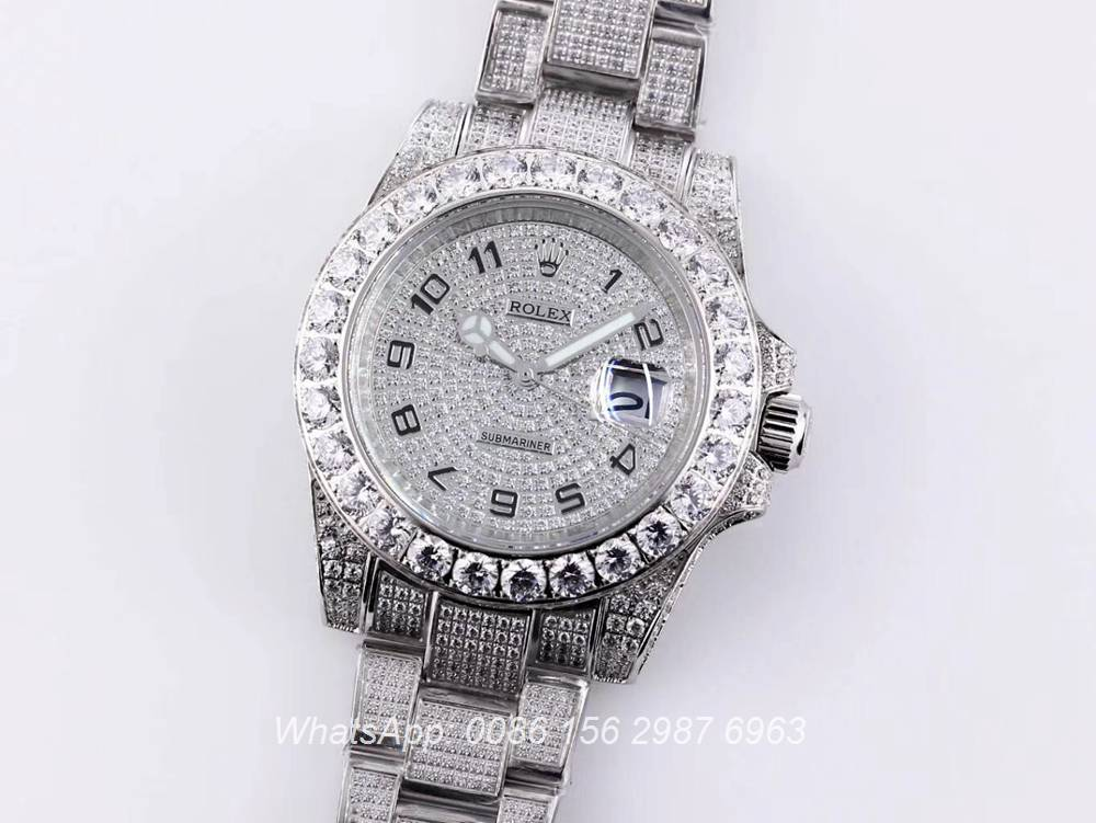 R120SF313, SUB iced out silver case 40mm shiny diamonds diamonds face AAA