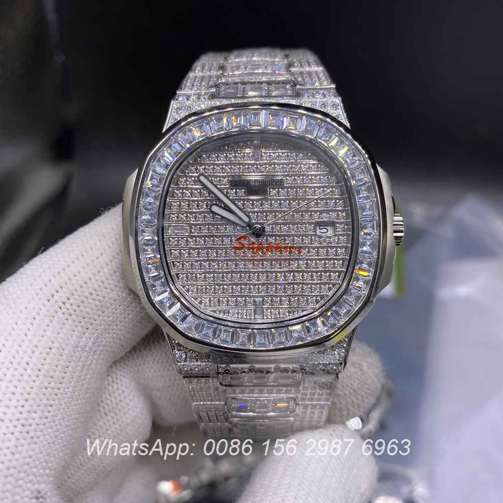 P180YC330, Patek baguette diamonds silver case 40mm automatic AAA