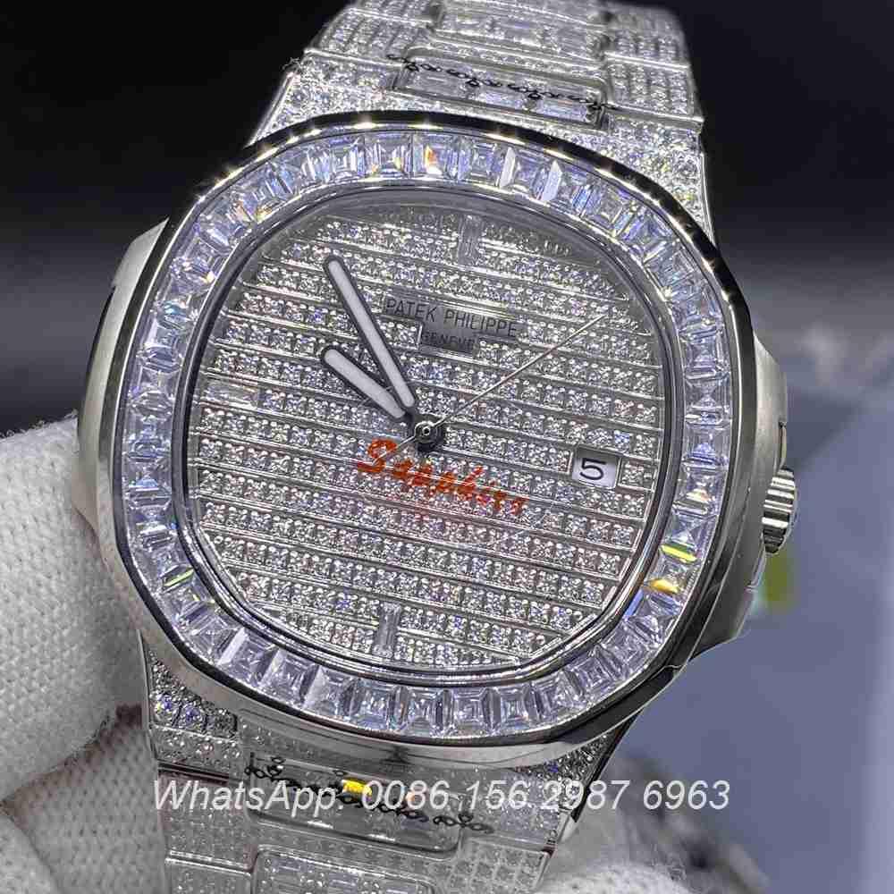 P180YC330, Patek baguette diamonds silver case 40mm automatic AAA