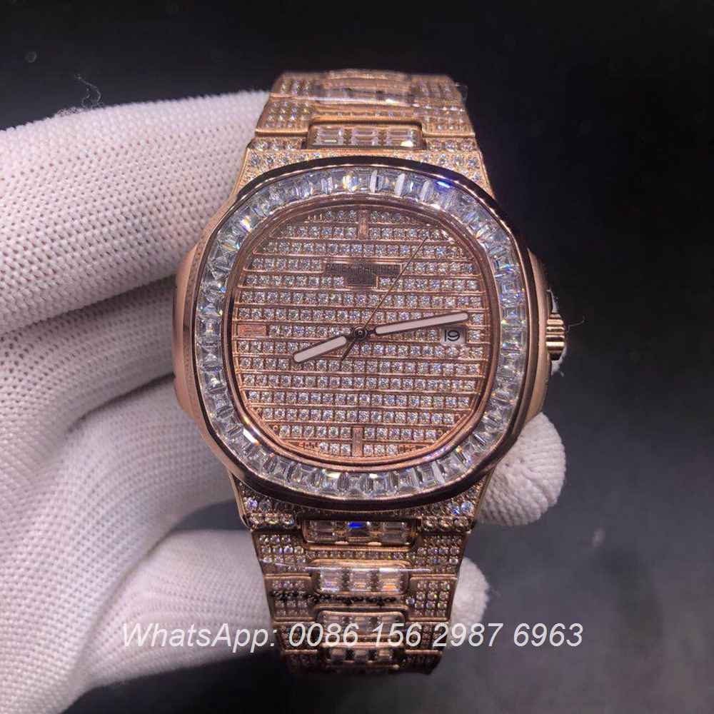 P180YC331, Patek baguette diamonds case rose gold color automatic high quality