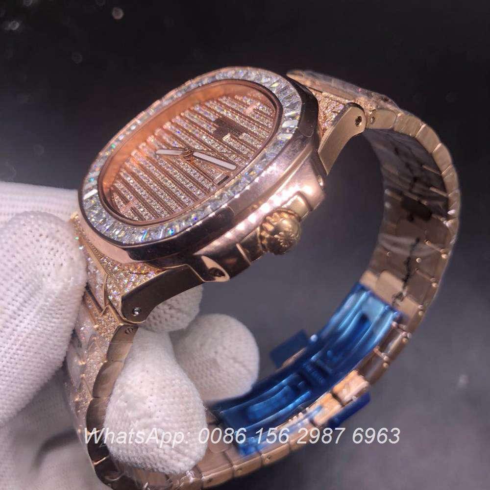 P180YC331, Patek baguette diamonds case rose gold color automatic high quality