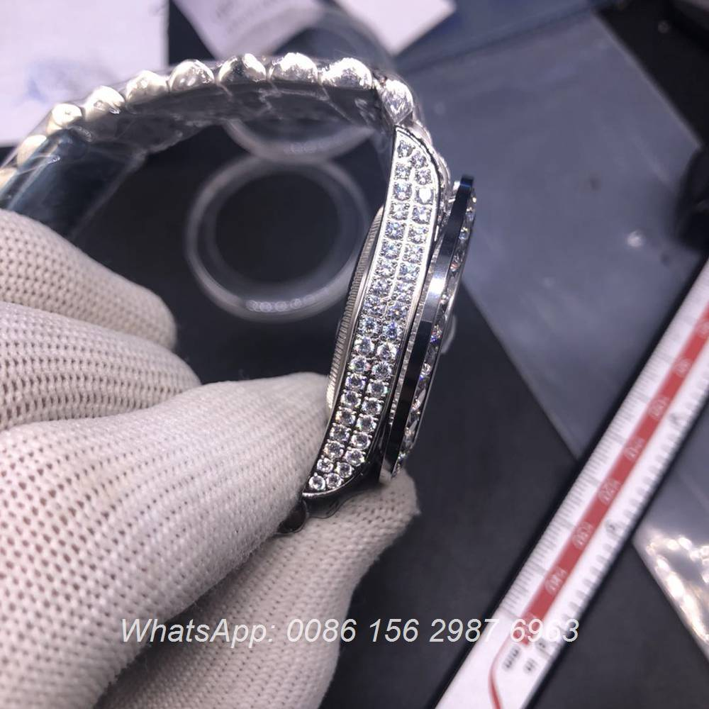 R102MH329, Datejust diamonds silver case with green dial 40mm automatic shiny watch