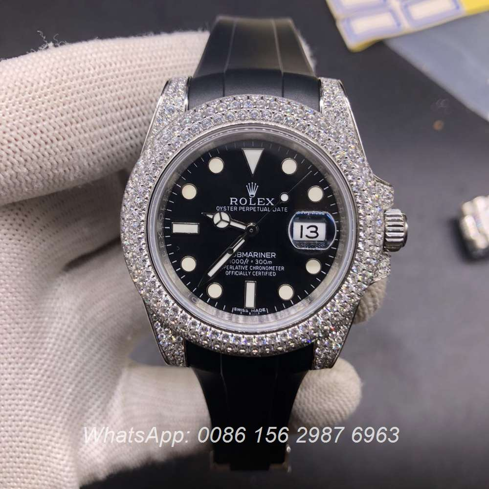 R178WS328, SUB iced out silver case 40mm with rubber strap automatic high grade