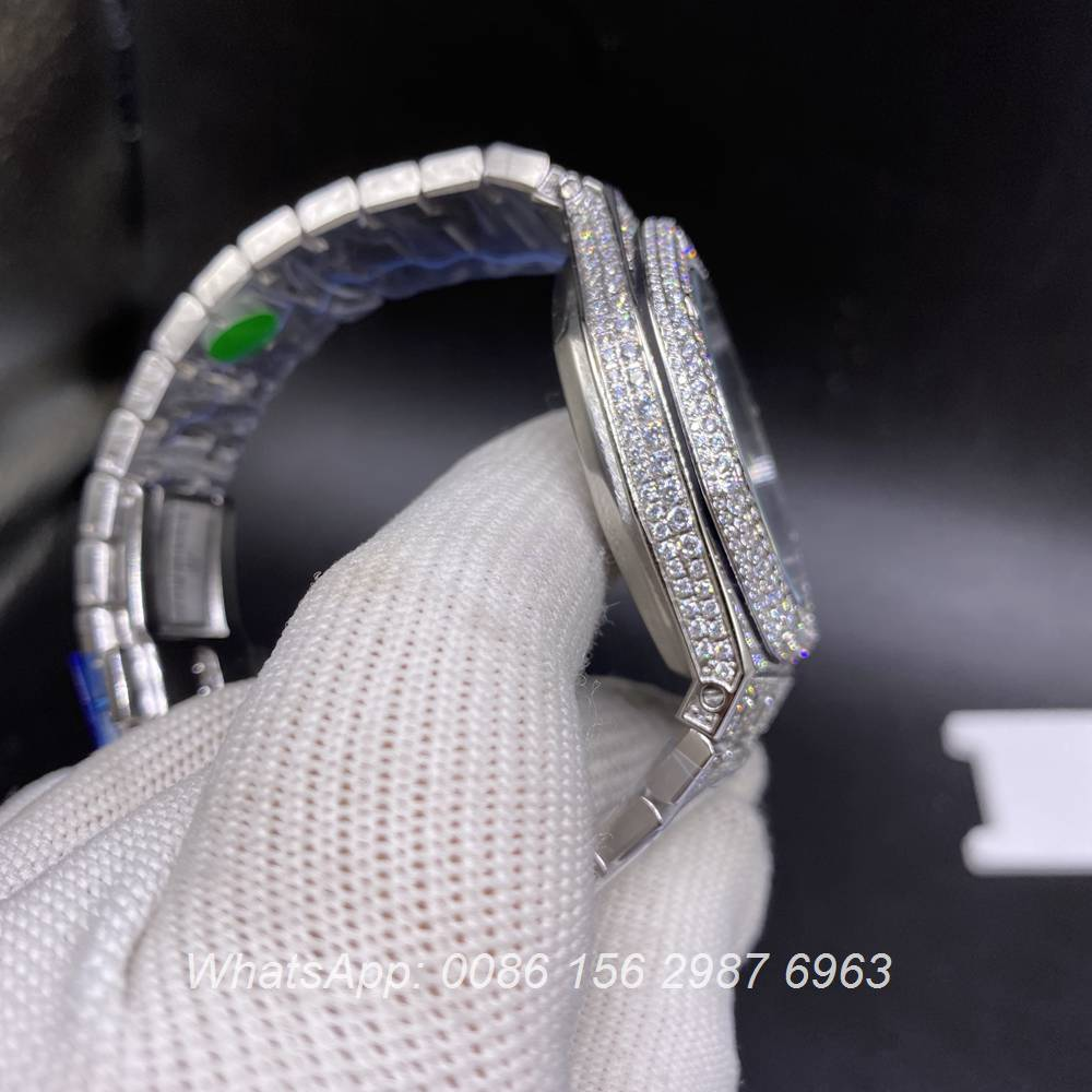 AP180BL337, AP bling diamonds silver case with blue Arabic numbers automatic AAA