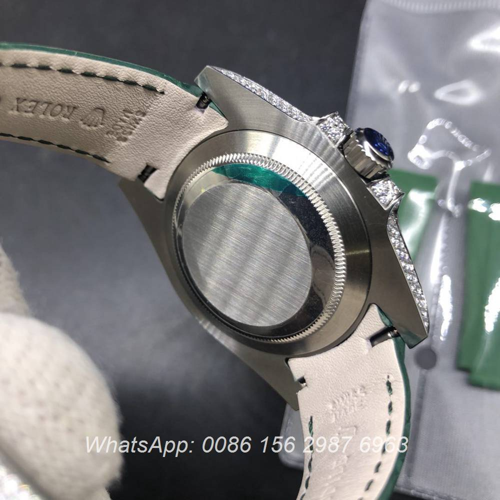 R185SF339, SUB diamonds silver case with green face green leather strap high quality