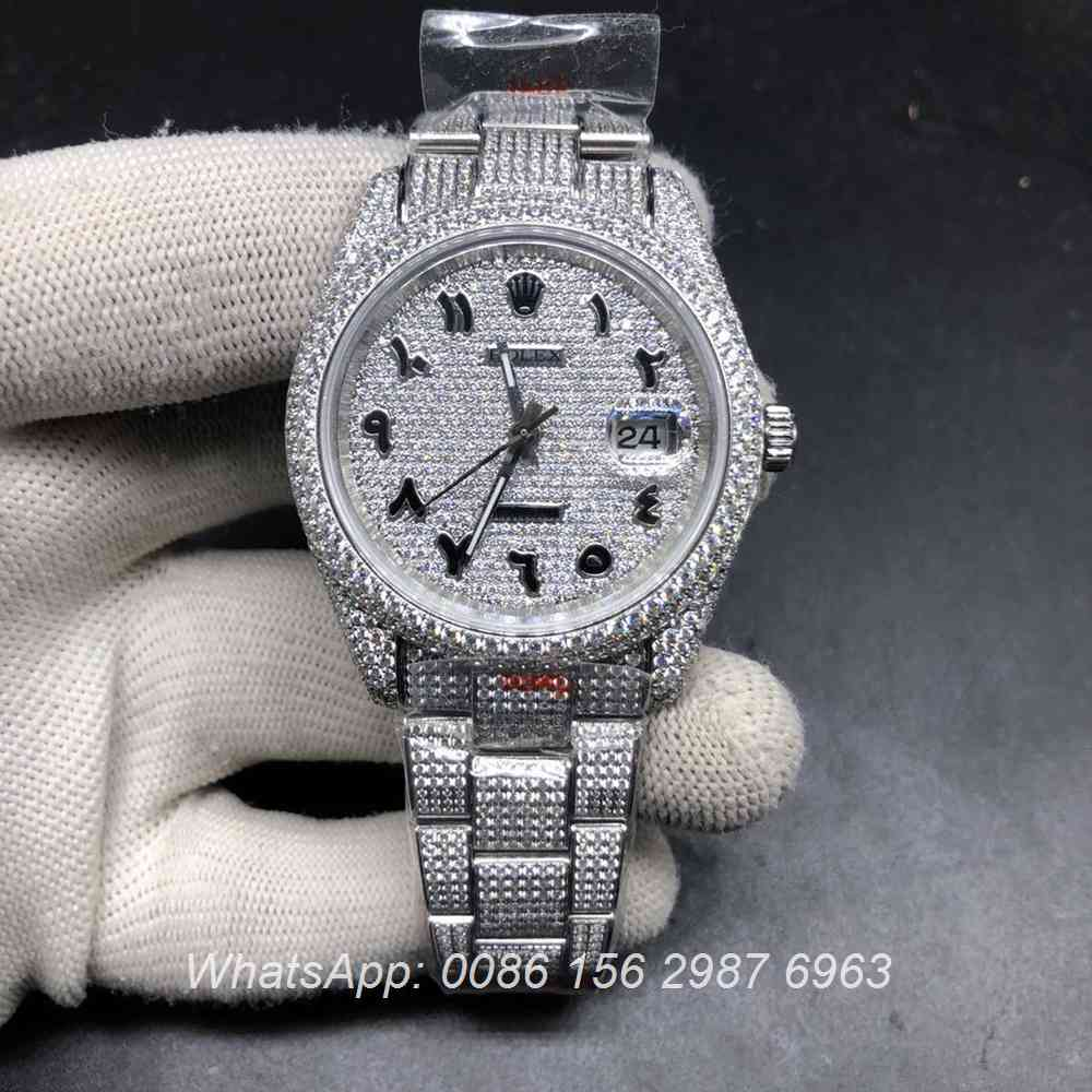 R270XD335, Datejust iced out silver Arabic numbers high grade diamonds watch
