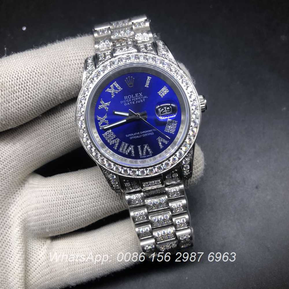 R097MH336, Datejust diamonds silver case 40mm with blue dial AAA automatic