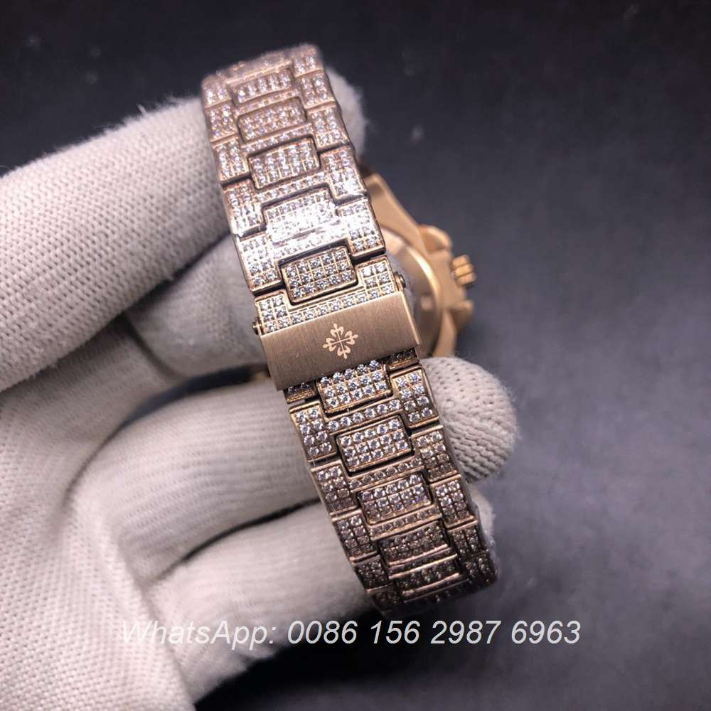 PP180BL340, Patek diamonds rose gold case 40mm blue face automatic AAA watch