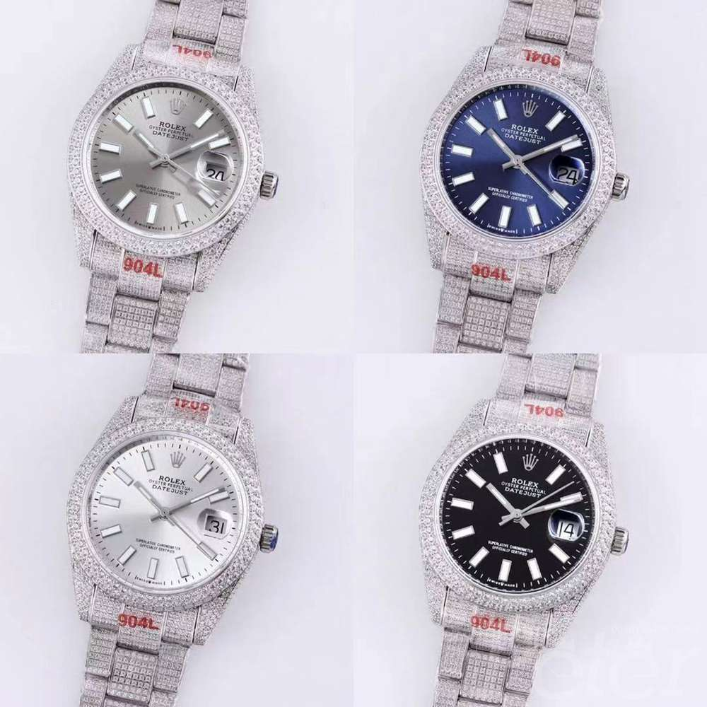 Datejust full iced out silver blue white black dials AAA M120