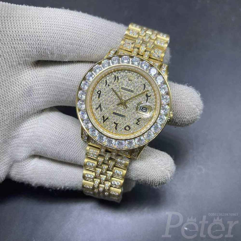 Datejust 40mm gold case diamonds face jubilee band arabic numbers MH107