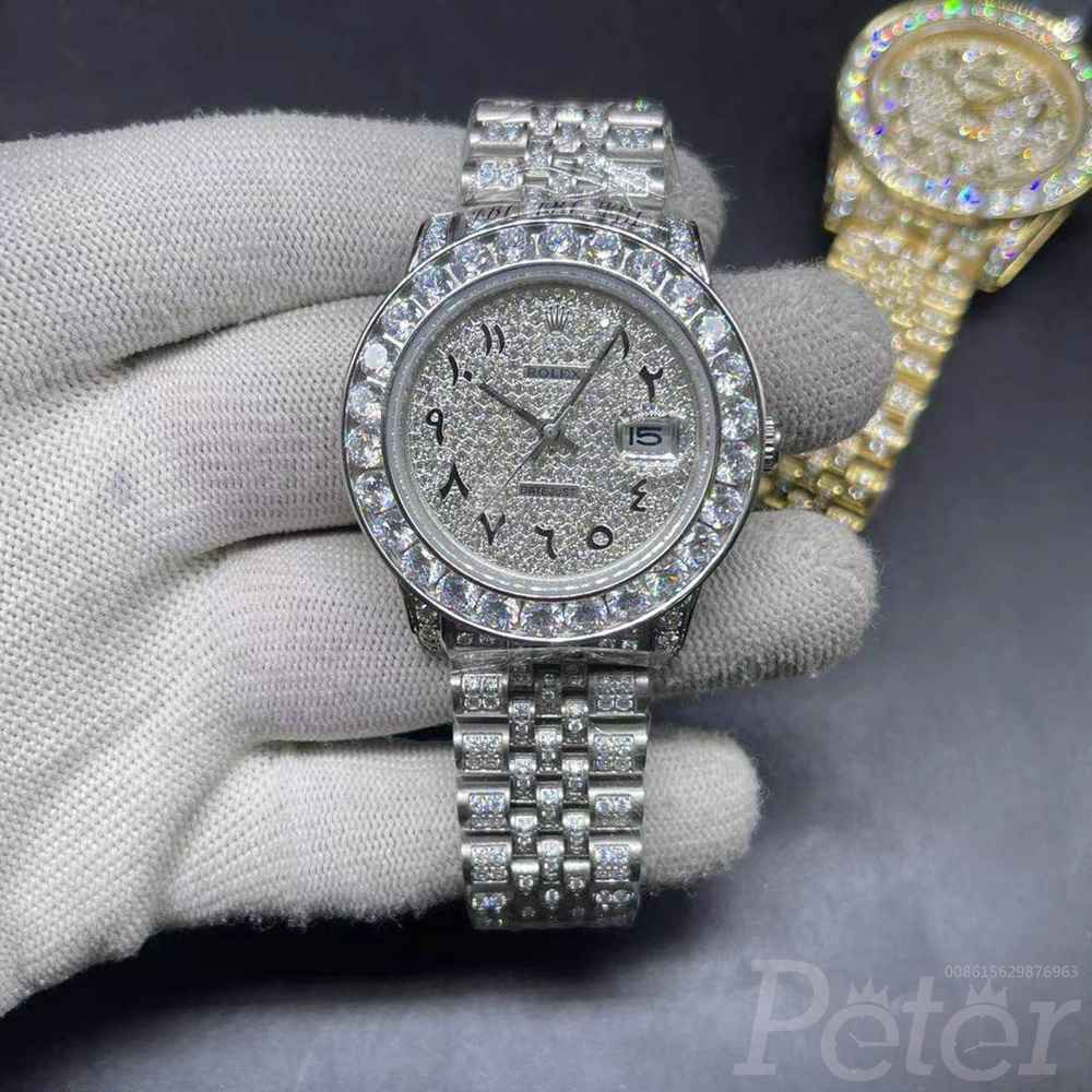 Datejust 40mm arabic numbers all white case diamonds face jubilee band MH102