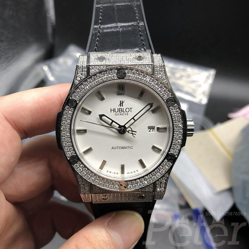 Hublot diamonds silver/white automatic XJ038