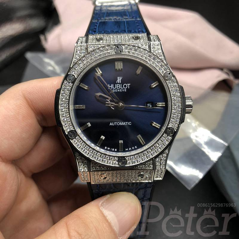 Hublot diamonds silver/blue automatic XJ038