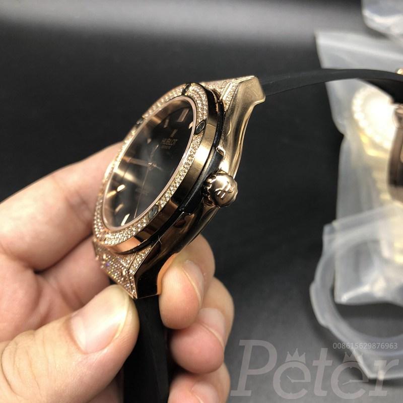 Hublot diamonds rose gold case black dial automatic XJ040