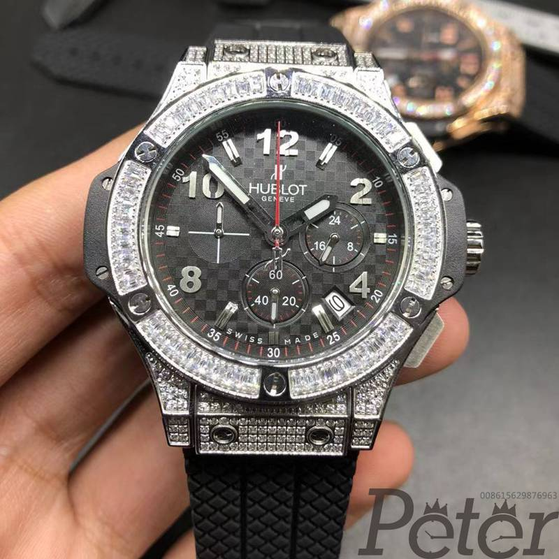 Hublot quartz diamonds silver case XJ040