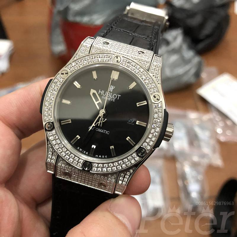 Hublot diamonds silver/black automatic XJ038