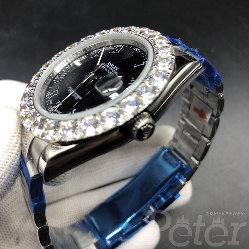 Datejust black dial Roman numbers prongset diamonds bezel 43mm S030