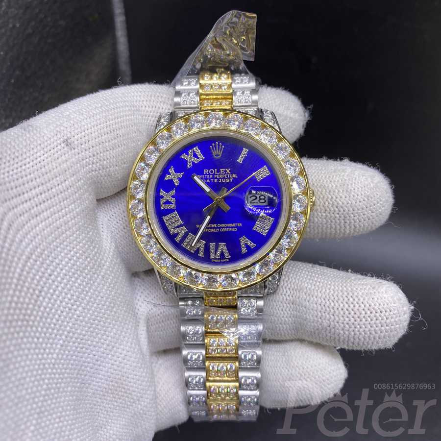 Datejust two tone gold diamonds case 40mm blue dial AAA MH105