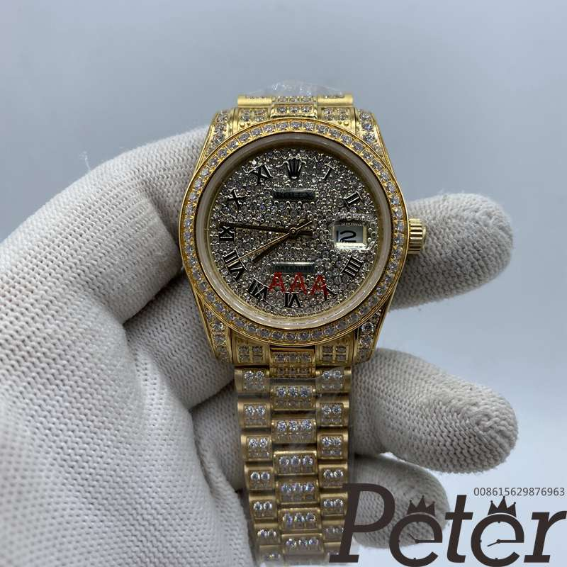 Datejust 36mm all gold full diamonds automatic women watch MH097