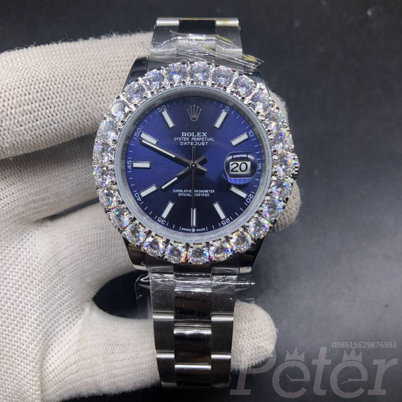 Datejust 43mm prongset stones bezel blue dial S026