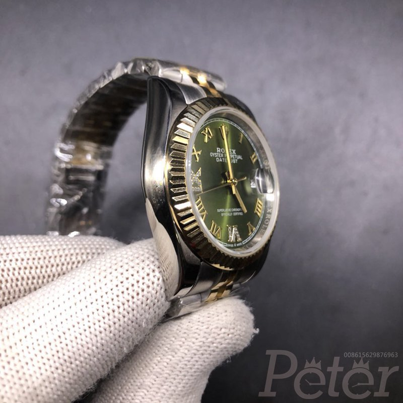 Datejust 36mm two tone gold case green dial jubilee band SBCK