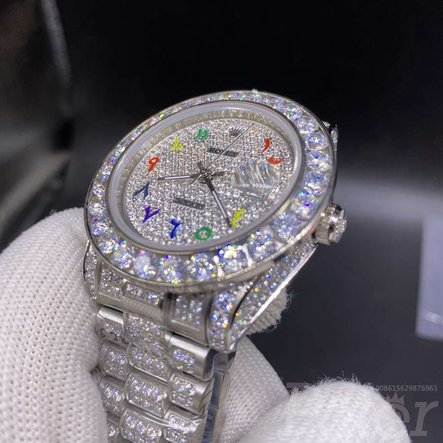 Datejust 40mm diamonds silver case colorful arabic numbers MH092