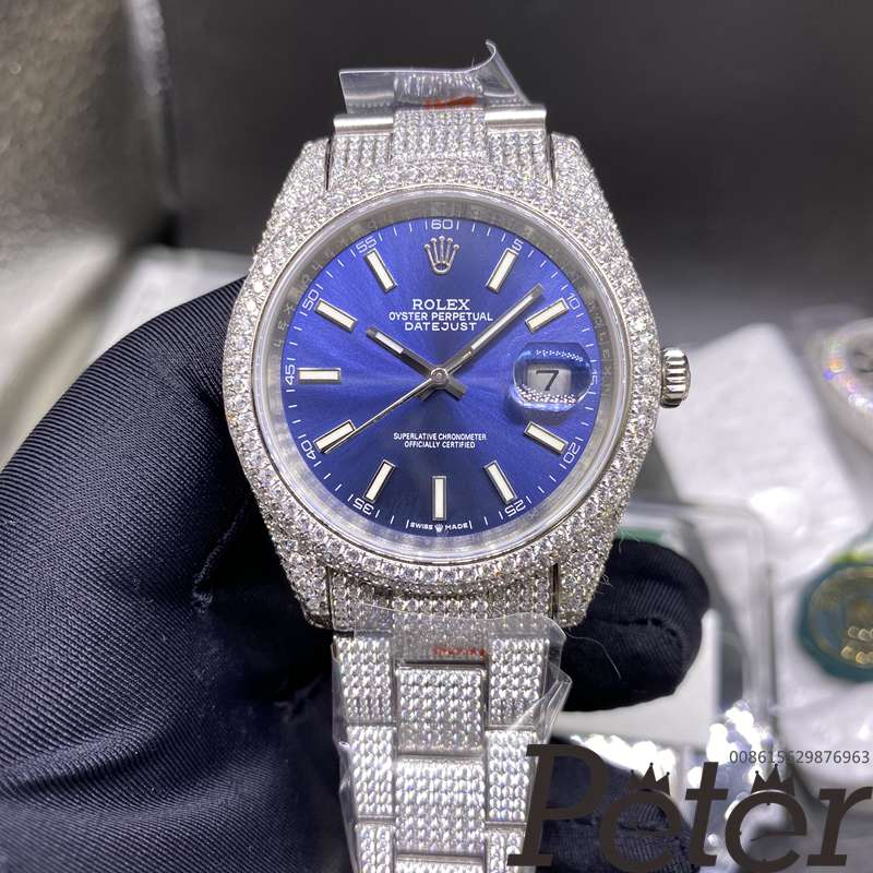 Datejust 40mm iced out swarovski diamonds blue dial XD280