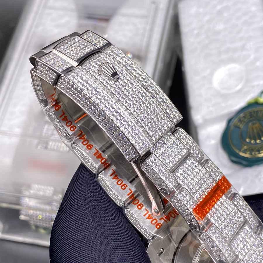 Datejust 40mm iced out swarovski diamonds blue dial XD280