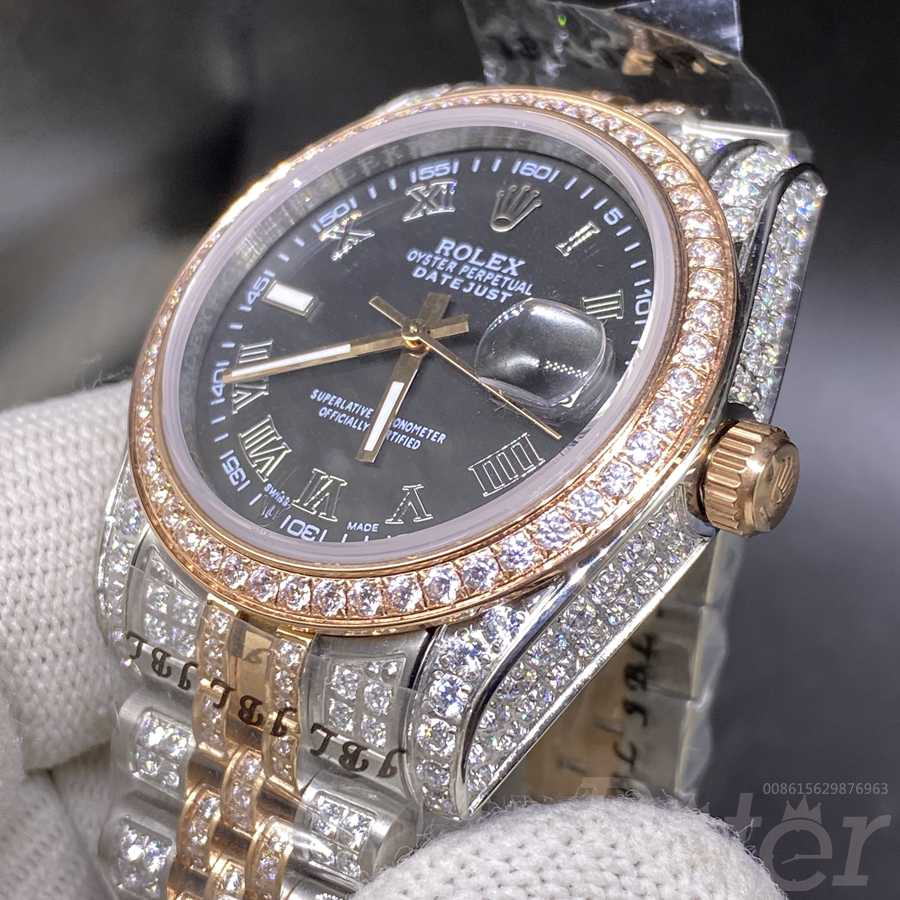 Datejust 36mm rose gold two tone color black dial jubilee band MH1KDK