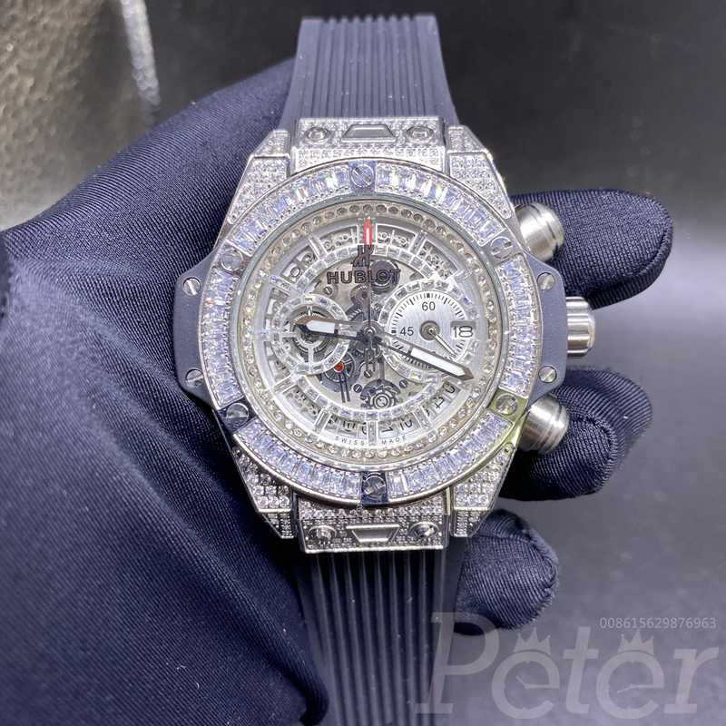 Hublot diamonds silver quartz movement XJ055