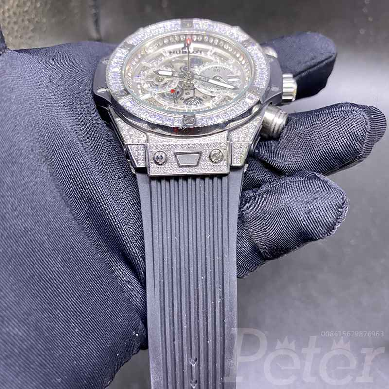 Hublot diamonds silver quartz movement XJ055