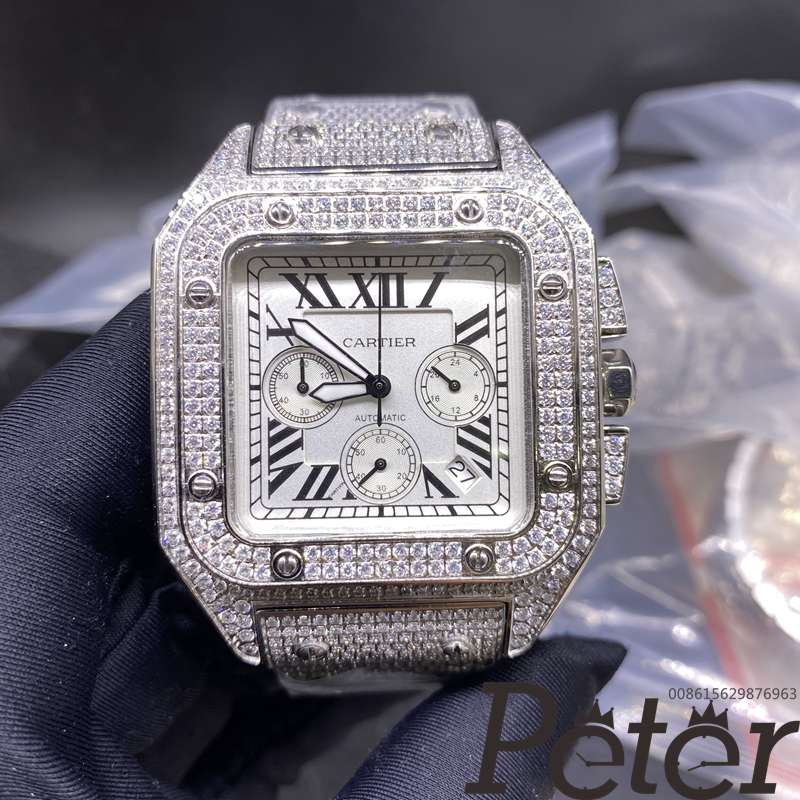 Cartier diamonds white dial chronograph VK quartz M120