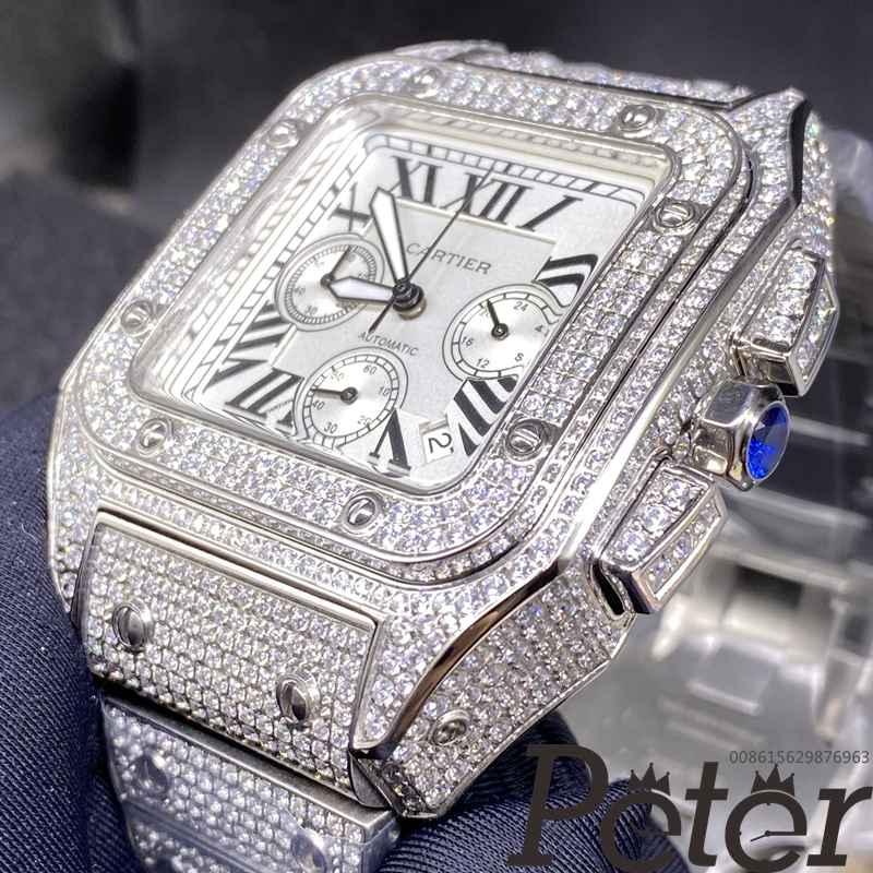 Cartier diamonds white dial chronograph VK quartz M120