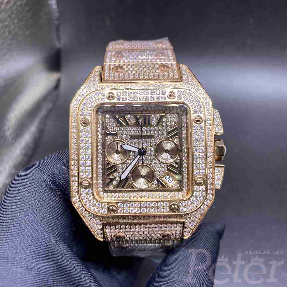 Cartier diamonds rose gold 44mm VK quartz M130