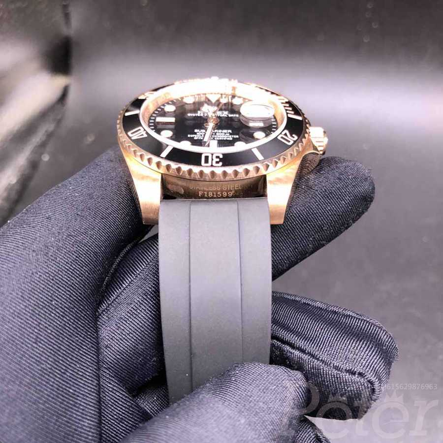 SUB 40mm rose gold case with black rubber strap Z035