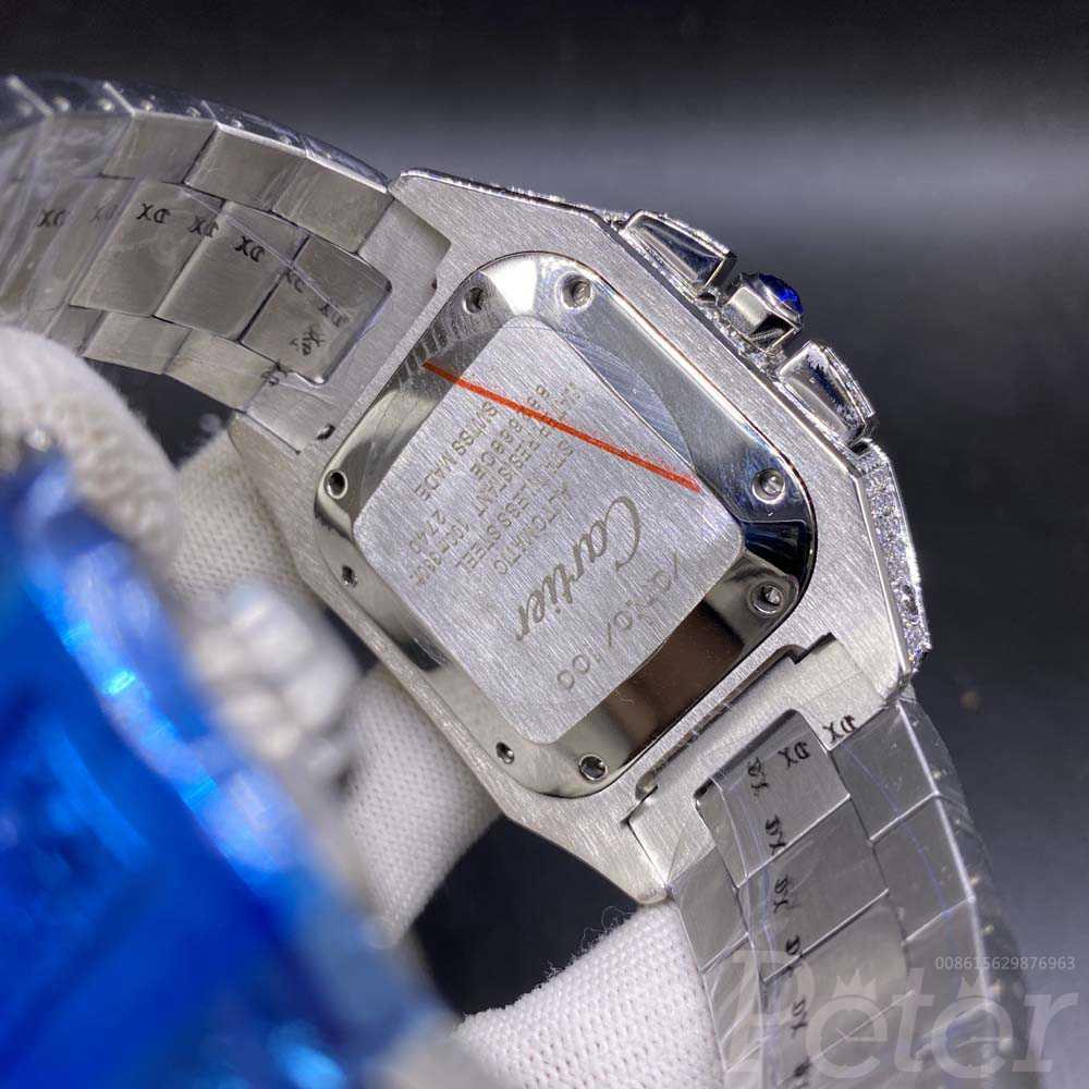 Cartier diamonds face silver case 44mm shiny zircon M130