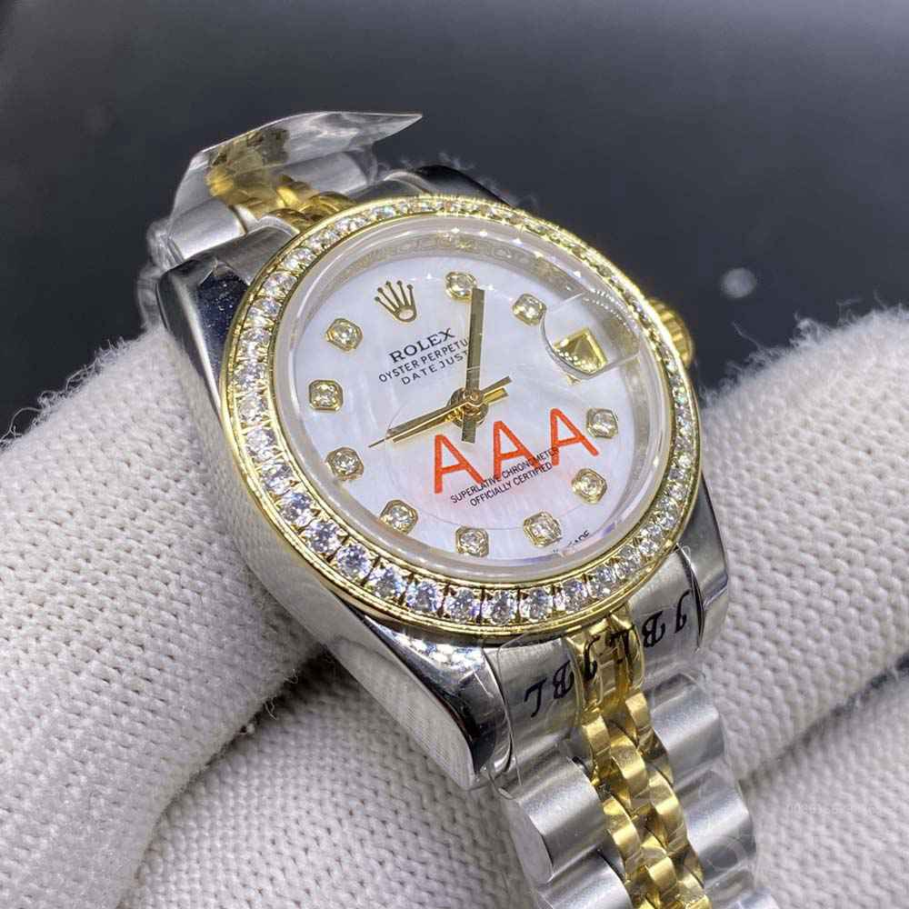 Datejust 26mm women 2tone gold case white pearl dial S022