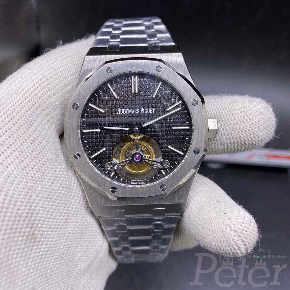 AP real tourbillon silver case black dial R8 factory XD335