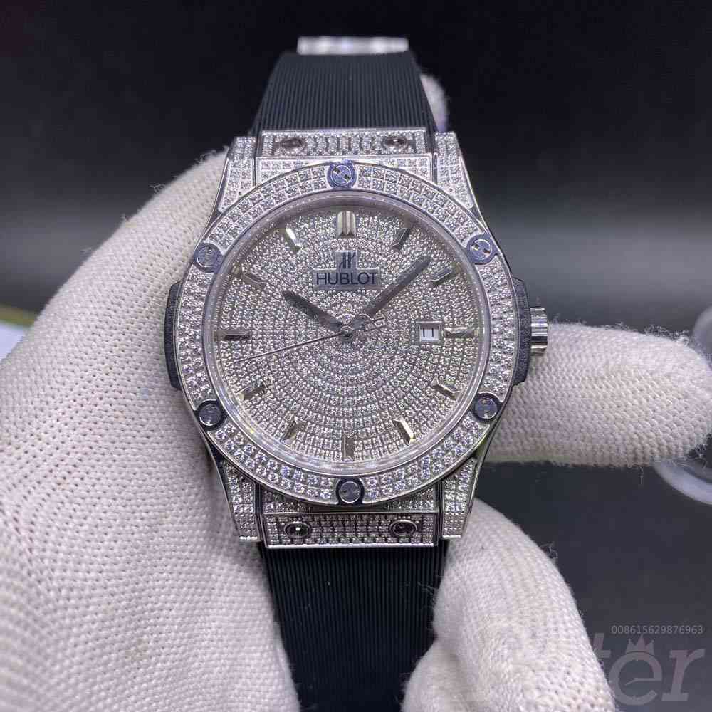 Hublot diamonds face silver case Automatic XJ058