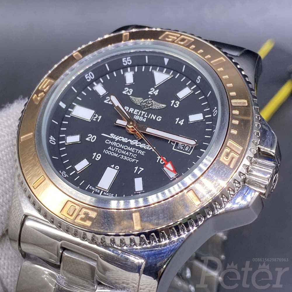 Breitling AAA automatic 45mm silver case champagne gold bezel M028