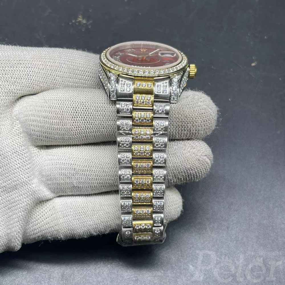 Datejust two tone gold case 36mm and 40mm red face zircon stones MH102