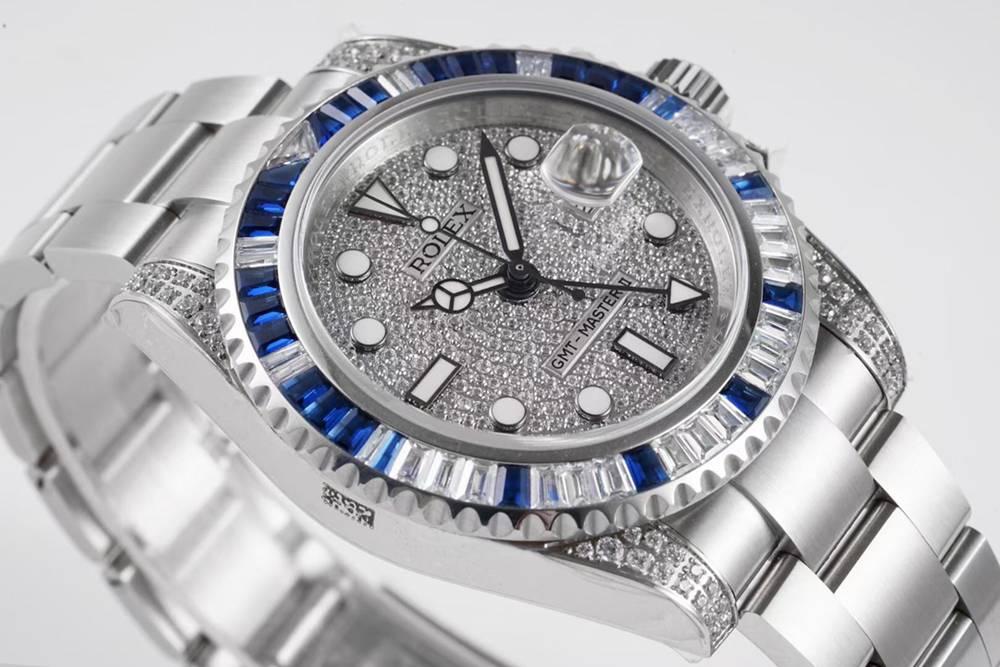 GMT Master II baguette blue stones bezel swarovski KOF factory 2836 high quality WT205