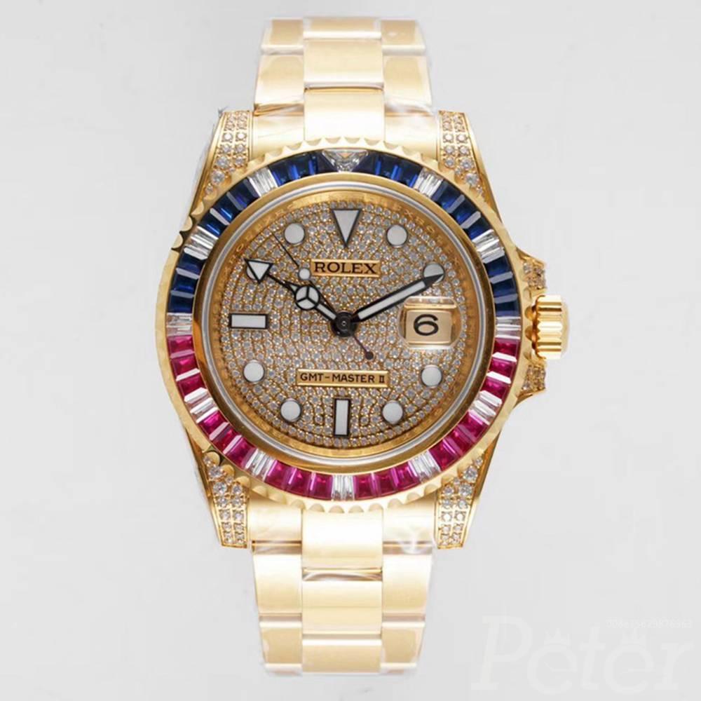 GMT master II KOF factory 2836 gold case swarovski stones WT205