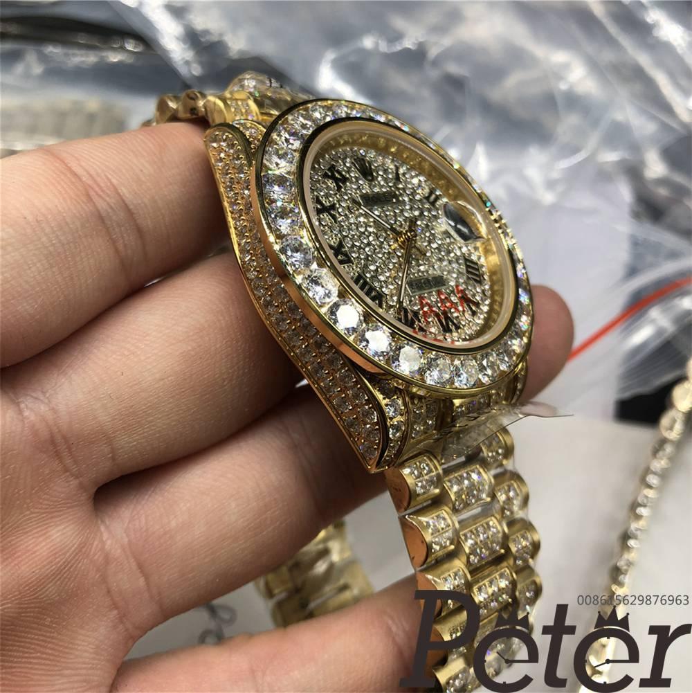 Datejust full diamonds gold case 40mm diamonds face roman numbers MH097