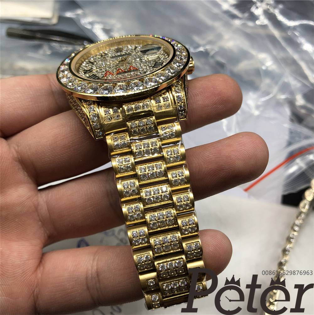 Datejust full diamonds gold case 40mm diamonds face roman numbers MH097