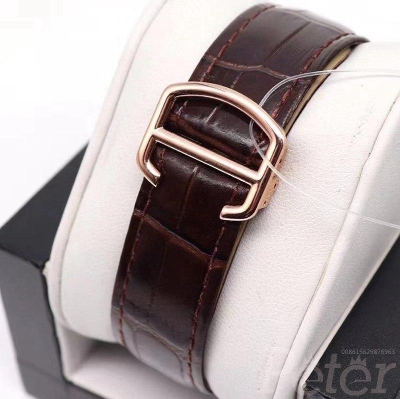 Cartier baguette diamonds rose gold 42mm brown leather strap WT175