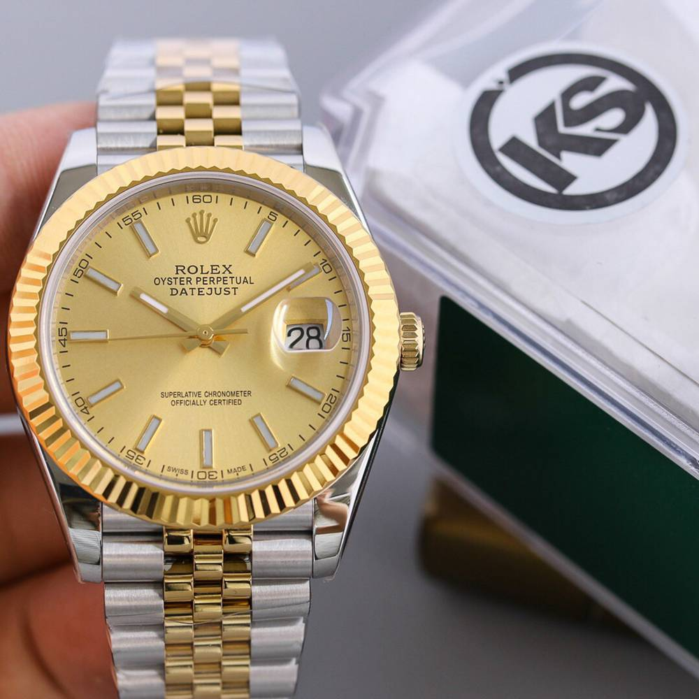 Datejust two tone gold 39.5mm gold dial black dial jubilee band KS factory 2836